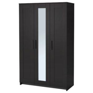 БРИМНЭС Шкаф платяной 3-дверный, черный 117x190 см | 004.121.24
