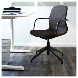ЛОНГФЬЕЛЛЬ Рабочий стул с подлокотниками, Гуннаред темно-серый/черный | 192.098.15