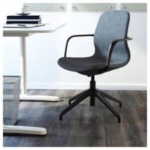 ЛОНГФЬЕЛЛЬ Рабочий стул с подлокотниками, Гуннаред синий/черный | 492.098.14