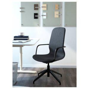 ЛОНГФЬЕЛЛЬ Рабочий стул с подлокотниками, Гуннаред синий/черный | 592.098.18