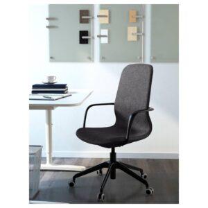 ЛОНГФЬЕЛЛЬ Рабочий стул с подлокотниками, Гуннаред темно-серый/черный | 992.100.42