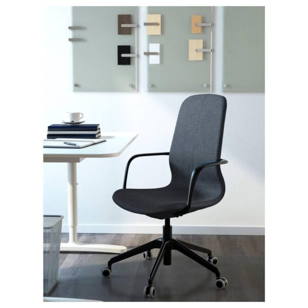 ЛОНГФЬЕЛЛЬ Рабочий стул с подлокотниками, Гуннаред синий/черный | 192.100.41