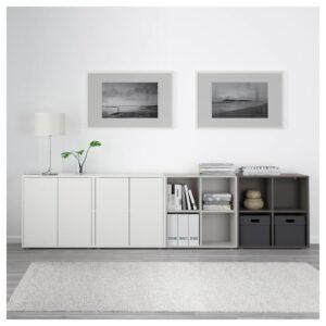 ЭКЕТ Комбинация шкафов с ножками, белый/светло-серый/темно-серый 280x35x72 см | 492.864.64