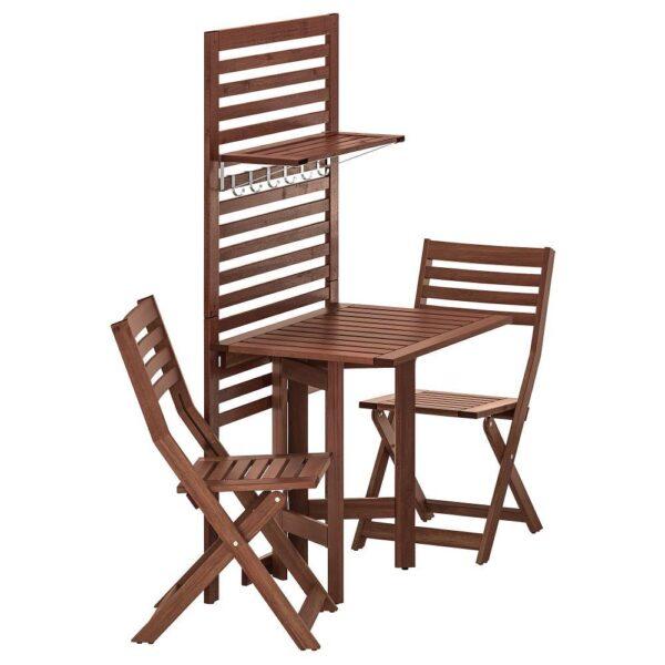 ЭПЛАРО Панель+стол+2 стула, для сада/коричневая морилка   092.911.51