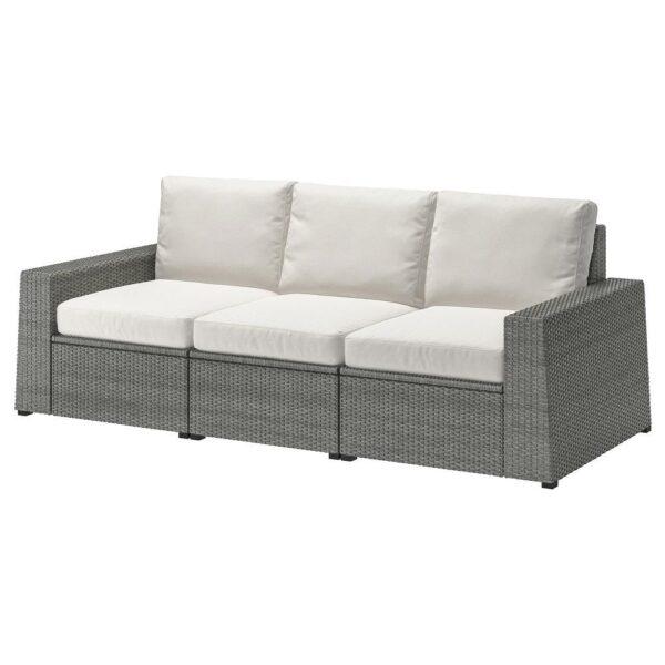 СОЛЛЕРОН 3-местный модульный диван, садовый, темно-серый/ФРЁСЁН/ДУВХОЛЬМЕН бежевый 223x82x88 см | 392.877.70