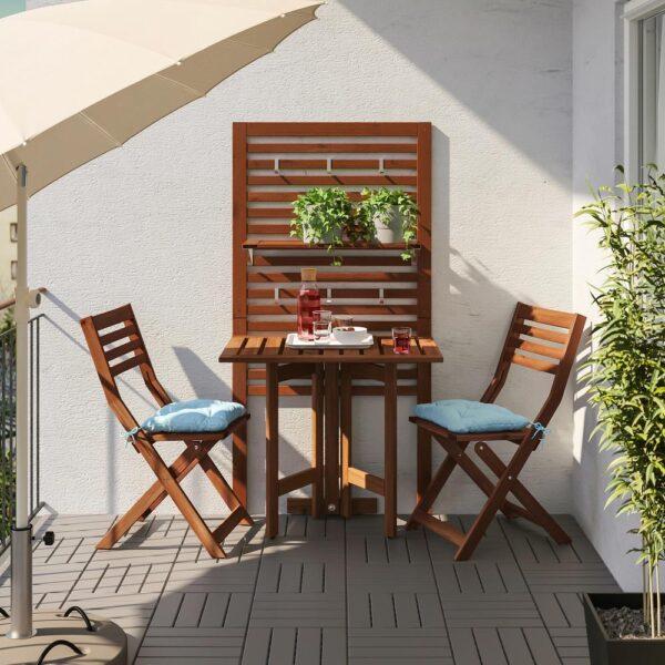 ЭПЛАРО Панель+стол+2 стула, коричневая морилка/Куддарна голубой синий | 292.914.28