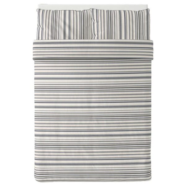 РАНДГРЭС Пододеяльник и 2 наволочки, серый/полоска 200x200/50x70 см | 304.389.62