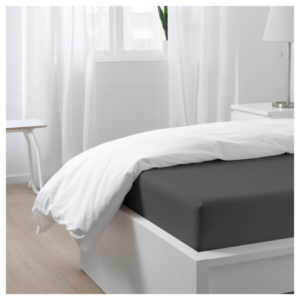НАТТЭСМИН Простыня натяжная, темно-серый 90x200 см | 404.426.85