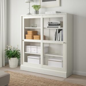 ХАВСТА Шкаф-витрина с цоколем, белый прозрачное стекло 121x37x134 см | 392.751.21