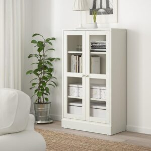 ХАВСТА Шкаф-витрина с цоколем, белый прозрачное стекло 81x37x134 см | 292.751.12