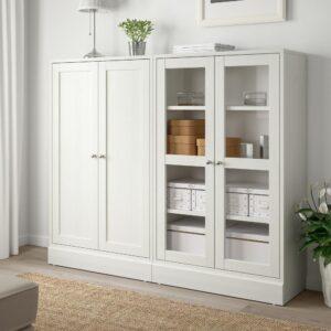 ХАВСТА Комбинация для хранения с сткл двр, белый 162x37x134 см | 292.660.61