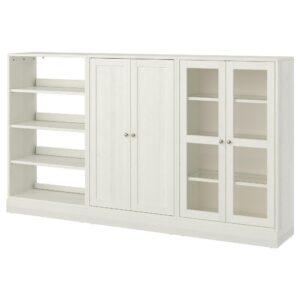 ХАВСТА Комбинация для хранения с сткл двр, белый 243x37x134 см | 692.660.21