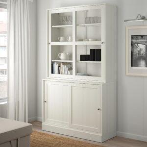 ХАВСТА Комбинация с раздвижными дверьми, белый 121x47x212 см | 292.659.19