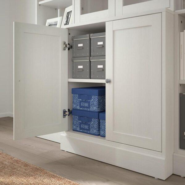 ХАВСТА Комбинация д/хранения+стекл дверц, белый 203x47x212 см | 392.659.28