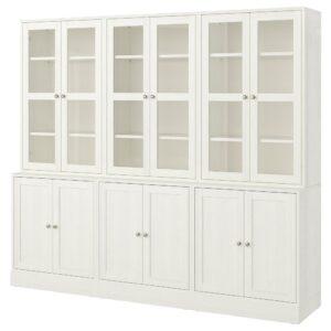 ХАВСТА Комбинация для хранения с сткл двр, белый 243x47x212 см | 992.659.73