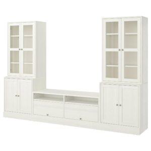 ХАВСТА Шкаф для ТВ, комбин/стеклян дверцы, белый 322x47x212 см | 492.658.19