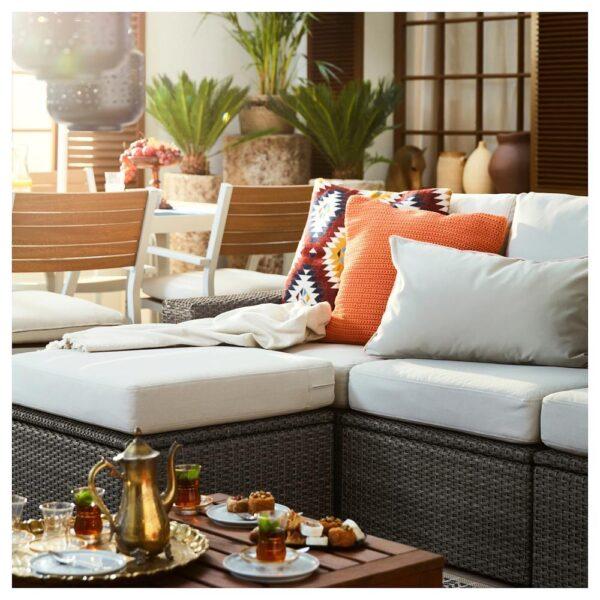 СОЛЛЕРОН 3-местный модульный диван, садовый, с табуретом для ног темно-серый/ФРЁСЁН/ДУВХОЛЬМЕН бежевый 223x145x88 см | 592.878.30