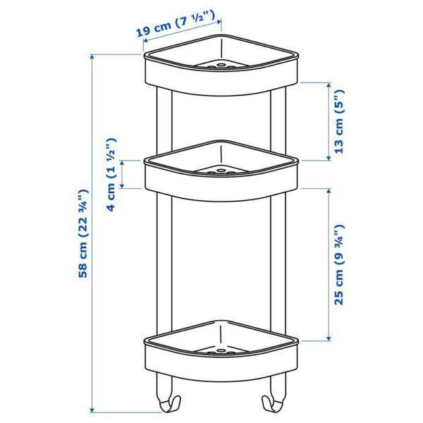 БРОГРУНД Настенн полочн модуль, угловой, нержавеющ сталь 19x58 см   404.089.88