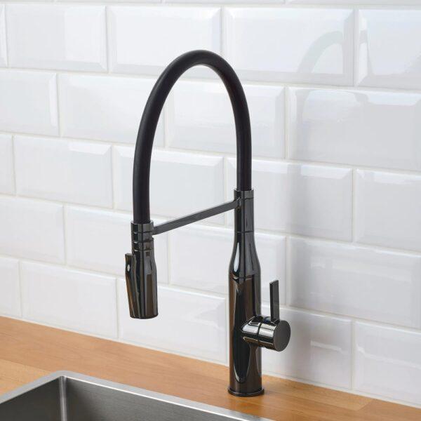 ТОЛЛЬШЁН Смеситель кухонный с душем, черный полированный металл   304.430.77