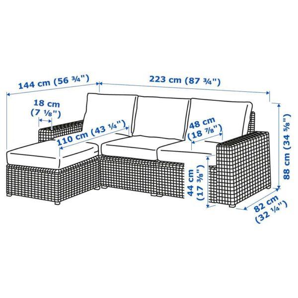 СОЛЛЕРОН 3-местный модульный диван, садовый, с табуретом для ног темно-серый/ФРЁСЁН/ДУВХОЛЬМЕН темно-серый 223x145x88 см | 292.878.41