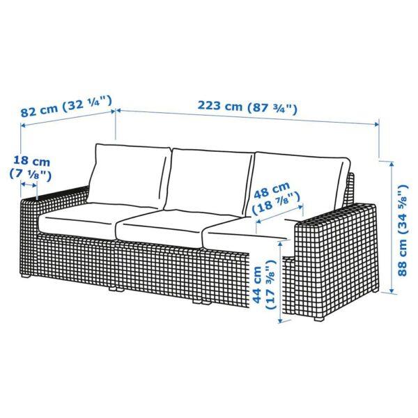 СОЛЛЕРОН 3-местный модульный диван, садовый, темно-серый/ФРЁСЁН/ДУВХОЛЬМЕН темно-серый 223x82x88 см | 092.877.76