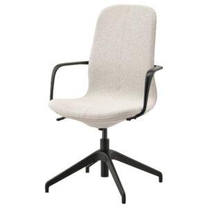 ЛОНГФЬЕЛЛЬ Рабочий стул с подлокотниками, Гуннаред бежевый/черный | 792.098.17