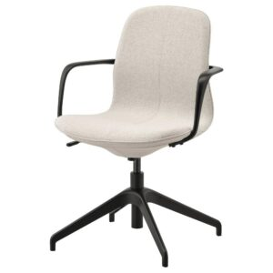 ЛОНГФЬЕЛЛЬ Рабочий стул с подлокотниками, Гуннаред бежевый/черный | 692.098.13
