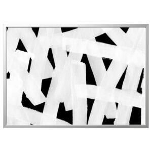 БЬЁРКСТА Картина с рамой, Мазки/цвет алюминия 140x100 см | 592.984.09