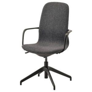 ЛОНГФЬЕЛЛЬ Рабочий стул с подлокотниками, Гуннаред темно-серый/черный | 392.098.19