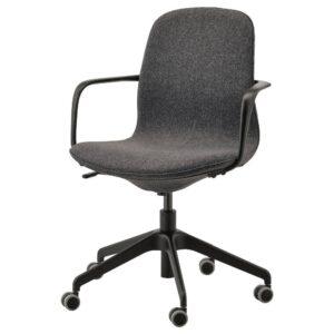 ЛОНГФЬЕЛЛЬ Рабочий стул с подлокотниками, Гуннаред темно-серый/черный | 892.100.28