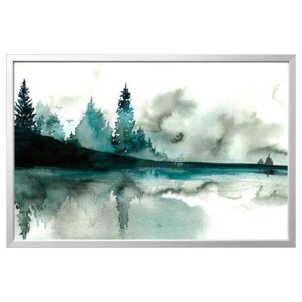 БЬЁРКСТА Картина с рамой, Акварель/цвет алюминия 78x118 см   292.984.82