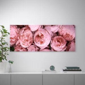 БЬЁРКСТА Картина с рамой, Розовый пион/цвет алюминия 140x56 см | 092.978.36