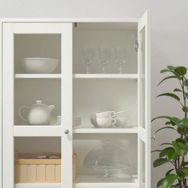 ХАВСТА Комбинация для хранения с сткл двр, белый 81x47x212 см | 892.659.83