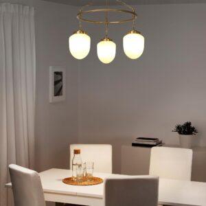 ОТЕРСКЕН Подвесной светильник с 3 лампами, молочный стекло | 104.370.63
