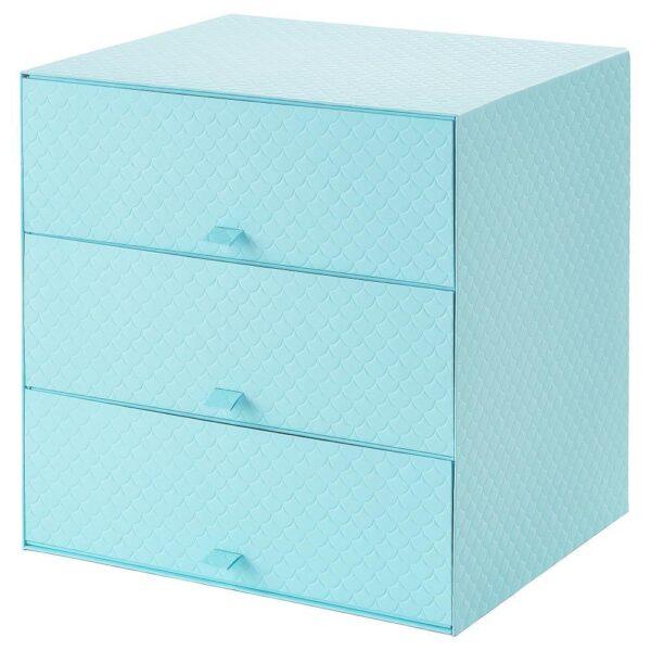 ПАЛЬРА Мини-комод с 3 ящиками, голубой 31x26x31 см   804.439.18