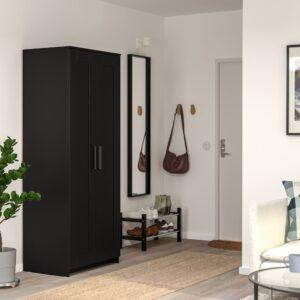 БРИМНЭС Шкаф платяной 2-дверный, черный 78x190 см | 204.121.23