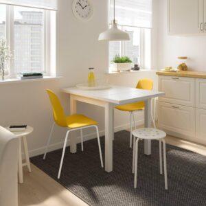 НОРДВИКЕН / ЛЕЙФ-АРНЕ Стол и 2 стула, белый/Брур-Инге темно-желтый 74/104x74 см | 293.050.86