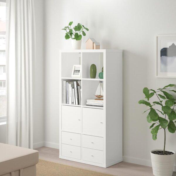 КАЛЛАКС Стеллаж с 4 вставками, глянцевый/белый 77x147 см | 492.783.03