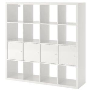КАЛЛАКС Стеллаж с 4 вставками, глянцевый/белый 147x147 см | 492.783.22