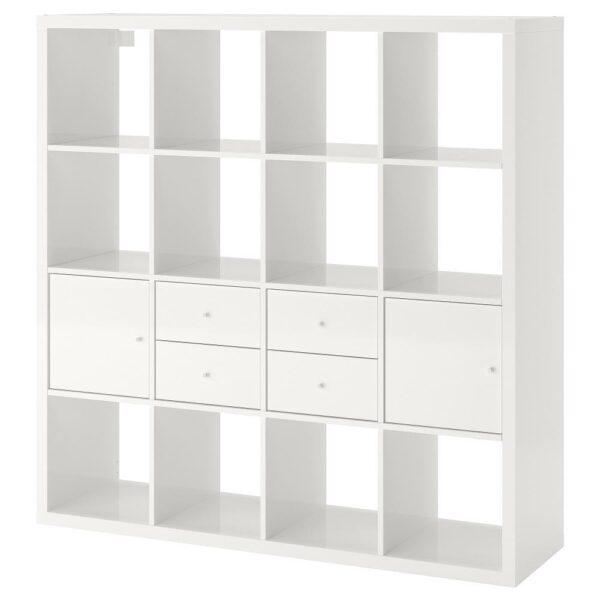 КАЛЛАКС Стеллаж с 4 вставками, глянцевый/белый 147x147 см   192.783.33