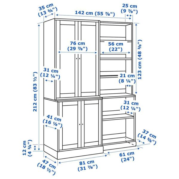 ХАВСТА Комбинация д/хранения, белый 142x47x212 см | 592.751.44