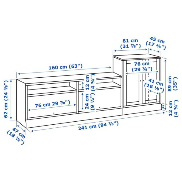 ХАВСТА Шкаф для ТВ, комбинация, белый 241x47x89 см | 892.658.79