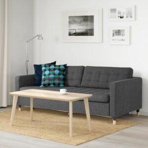 ЛАНДСКРУНА 3-местный диван-кровать, Гуннаред темно-серый/дерево | 293.198.80