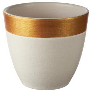 ЛАЙМПЕППАР Горшок цветочный, белый/золотой полоска 12 см | 604.679.72