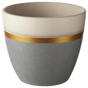 ЛАЙМПЕППАР Горшок цветочный, серый/золотой полоска 15 см | 404.679.73