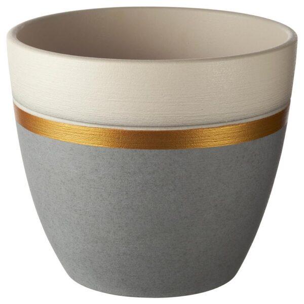 ЛАЙМПЕППАР Горшок цветочный, серый/золотой полоска 15 см   404.679.73
