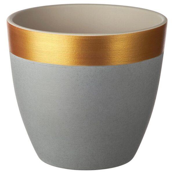 ЛАЙМПЕППАР Горшок цветочный, серый/золотой полоска 19 см | 204.679.74