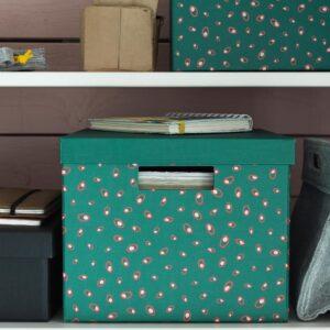 ТЬЕНА Коробка с крышкой, зеленый точечный 25x35x20 см | 204.340.59