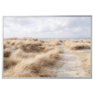 БЬЁРКСТА Картина с рамой, Песчаные дюны/цвет алюминия 200x140 см - 292.984.77