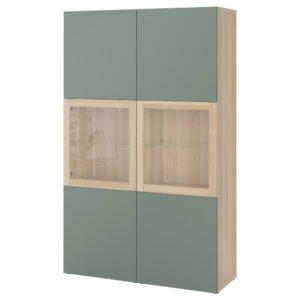 БЕСТО Комбинация д/хранения+стекл дверц, под беленый дуб/Нотвикен серо-зеленый прозрачное стекло 120x42x192 см - 693.008.45